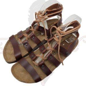 Papillio Birkenstock Brown Lace Up Sandals Sz 37